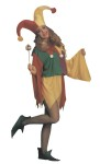 Kings Jester Adult Costume - Bright, multi-colored jester has elastic waist with jagged hem and full sleeves. Matching hat and collar are accented with pom-pons. One size fits most. This is a unisex costume, can be used by both men and women.