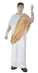 Julius Caesar Adult Costume - White toga with gold trim, golden shoulder drape, matching gold wrist cuffs, and laurel leaf headband. One size fits most men between 5 6 and 6 tall, 140 to 200 lbs. Waist size 25 to 38, chest size 33 to 45.  Material is polyester. For XL size check our style # AA68X.