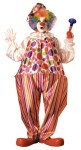 Harpo the Hoop Clown Costume - Hoop, polyester clown jumpsuit with colorful striped trousers and matching hat. Add shoes and props for complete look.   Clown Shoes/Wigs NOT Included.