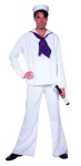 Sailor Adult Costume - Rental Quality. Includes shirt and pants in 100% white poly-poplin. Blue scarf on the same material. Sailor hat and telescope not included.