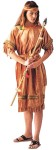 Indian Maiden Adult Costume - Tan dress with colorful decorative trim, fringed sleeves and hem makes this a very attractive Indian costume. Includes headband and sash. Bamboo spear not included. One size (Adult) only.