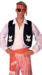 Adult Pirate Kit Includes : Black Colero Vest with White Skull Trim, Black Eyepatch with Red headband and Matching Sash.