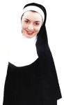 Nun Kit - Black knit headpiece with white collar. Can be worn with any black robe.