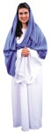 Adult Mary Costume - White, floor length cotton blend dress with deep blue wrap. One size.