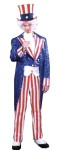 "Deluxe Uncle Sam Adult Costume includes - Blue sequin tail coat with red and white striped satin lapel, buttons, cuffs, and matching pants. Also includes white satin vest front. Add your own hat (<a href=""uncle-sam-hat-grp-123ga60.aspx"">GA60</a>), spats (<a href=""canvas-spats---vinyl-grp-123bb95.aspx"">BB95</a>), bowtie (<a href=""bow-tie---uncle-sam-grp-123bb41.aspx"">BB41</a>), and Uncle Sam wig, beard, and eyebrow set (<a href=""uncle-sam-wig-goatee-eyebrow-grp-123cb50.aspx"">CB50</a>)."