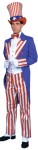 Uncle Sam Deluxe Adult Costume - Rental Quality. Satin striped pants with satin vest. Blue gabardine coat with satin lining, lapel and cuffs. Hat and gloves not included.  SIZES,  Small:36-38   Medium:38-42;  Large:42-46; XL:46-50