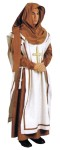 Renaissance Monk Adult Costume - Brown poly suede cloth gown and hood. Natural color poly cotton over tunic with grosgrain ribbon trim. Includes rope sash. One size.