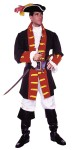 Adult Captain Hook Costume - Includes Black Jacket of 100% Poly- Popplin Trimmed in Nylon Velvet. Pants are made of Poly-Poplin. Includes a Poly-Cotton Shirt and Vinyl Belt. Tricon Hat, Boot Tops and Sword sold Separate.