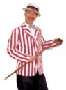 Adult Roaring 20s Blazer- Rental Quality. Straight from the good ole days... handsome red/white striped blazer with front pockets and wide lapel. Permanent press. Hat and slacks not included.  SIZES,  Medium:42;  Large:44;  X-Large:48;  XX-Large:52;