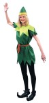 Peter Pan Adult Costume - Pixie style tunic with jagged sleeves and bottom. Hat included. One size.