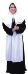 Pilgrim Lady Adult Costume - Rental Quality. Long black pilgrim dress in heavy knit polyester with black zipper. White apron, cuffs, and collar. Complete with white cap. Great for Thanksgiving.