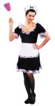 Upstairs Maid Adult Costume - Rental Quality. Black dress made of 100% nylon-knit, trimmed in white nylon lace. Includes apron and headpiece made of white acetate. Duster and choker and garter not included.