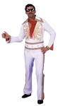 Rock and Roll Elvis Impersonator Adult Jumpsuit - One piece white nylon knit white jumpsuit with decorative gold trim on collar, bodice and sleeves. Includes dressy vinyl belt.