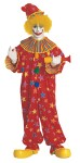 Adult Clown Jumpsuit - Cotton jumpsuit of solid red with bright colorful stars in the background, stripe trimmed collar and cuffs. Includes matching hat. One size. (Wig & Shoes Not Included)