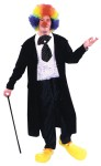 Adult Formal Clown Costume - Includes One Piece Pants, Shirt/Vest, Belly Stuffer, Caravat with Stick Pin. Complete with Black Cutaway Coat. One Size