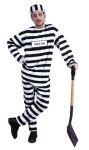 "Convict Man Adult Costume includes: Black & White striped shirt, hat and matching convict cap. One size: Standard fits up to 300 lbs. (ID number sign NOT included.) Also available in Standard Size - <a href=""/CONVICT-MAN-ADULT-COSTUME-Grp-123AC31.aspx"">AC31</a>."