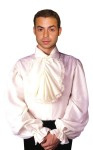 Adult Colonial Shirt - Stately white cotton shirt with button collar, billowing sleeves and ruffled ascot. Makes a great aristocratic gentleman.