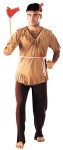 Indian Man Adult Costume - Tan colored V-neck shirt with fringe along the collar and bottom edge, and brown elastic waist pants. Includes matching feather headband and cord belt. One size fits most adults(8-14). Weapon not included. Material : Polyester.