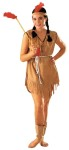 Indian Lady Adult Costume - One piece dress of imitation nylon suede with a tie cord belt. Includes matching headband with feather. One size only.  Fits size 8-12