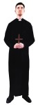 Priest Adult Costume - Handsome black knit robe with sash. Cross not included. One size.