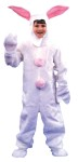 Child White Bunny Suit - One-piece suit made of acrylic pile plush. Two pink pompoms on the front and one on the backside for the cottontail. Hood has an open face with Velcro closure under chin and pink-lined floppy ears. Includes mitts and shoe covers.
