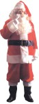 Plush Adult Santa Suit - Made of red deluxe Pile plush with deluxe white pile plush trim. Suit includes: Zipper coat with belt, pants, hat, deluxe vinyl boot tops with soft plush cuffs and white knit gloves. Sizes 42-48.