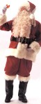 Deluxe Velvet Santa Suit - Made of fine quality red velvet with luxurious, long hair, white plush trim. Suit includes: Zipper coat with belt loops and lengthened coat border, pants with side pocket, hat, naugahyde belt and loop, naugahyde boot tops with long fake fur plush and whit