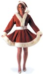 Santas Helper Adult Costume - Be Santas Helper in this great dress made of fine quality corduroy with long hair plush trim. This one piece dress has a low cut neckline and elastic waistband. Includes: White belt with buckle and corduroy hat with pom-pom.