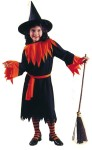 Wendy The Witch Child Costume - Black polyester dress with jagged cut sleeves and bottom. Includes belt and witch hat. (Socks & Broom not included).