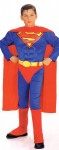Child Superman Costume with built in Muscle Chest Red/blue jumpsuit with muscle chest, boot tops, belt and cape.