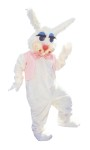 Peter Rabbit Adult Costume - White acrylic faux fur jumpsuit with matching mitts, feet, and oversized head. Also includes vest and tie. One size fits most adults.