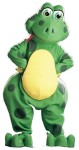 Froggles Adult Mascot Costume - Green acrylic faux fur jumpsuit with matching hands, feet, and oversized head. One size fits most adults.