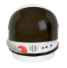 Astronaut Helmet - Hard plastic design with sound chip, just push button to hear real astronaut sounds! Another button activates retractable visor. Includes mock boom microphone inside helmet. Has padding at shoulders and inside top of helmet.<br>Fits adults and children ages 5 and up. Helmet includes 3 LR44 batteries. Helmet is 11 inches wide, 12 inches tall and 11 inches deep. For additional comfort or a more custom fit you can add foam, not included.<br>