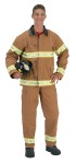 "Adult Fire Fighter Costume - This One is really Hot. The most official looking bunker gear. Costume includes adjustable hard helmet, adjustable bib overalls with pockets and knee patches, adjustable suspenders, coat with buckle, zipper, pocket, authentic gauntlet cuffs and reinforced elbow patches.  Large approximately Sizing: 170lbs to 220 lbs. And 5 8"" to 6 2"" tall."