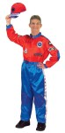 "Adult Racing Suit Costume - Our New Red and Blue Jr. Champion Racing Suit has got the look. Silky and smooth to the touch. Completely detailed with: Custom embroidery & lots of logos, Full length zipper, Official neck & ankle straps, Elastic waistband, Rear seat pocket.  Large fits approximately 170 to 220 lbs, 58"" to 62""."