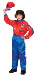 Racing Suit Child Costume - Our New Red and Blue Jr. Champion Racing Suit has got the look. Silky and smooth to the touch. Completely detailed with: Custom embroidery & lots of logos, Full length zipper, Official neck & ankle straps, Elastic waistband, Rear seat pocket.
