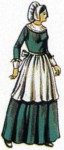 Lady Pilgrim Set - Gives any long dress a pilgrim look. Includes bonnet, apron, cuffs, and collar of heavy white cotton material. (Dress NOT included.)