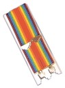 Rainbow Suspenders. Ever popular multi-colored suspenders. 1 1/2 x 39 long. Adustable for a perfect fit.