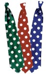 Long Clown Tie - Polyester satin, extra long tie with polka dots.
