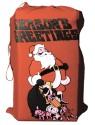 Santas Toy Bag - Nicely decorated red flannel santa toy bag with stenciled front. Size 20 inches x 30 inches.