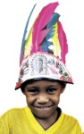 Long Indian Headdress with Two Rows of Full, Bright colored Feathers. Elastic Stretch Band for Easy Wear and Comfort.