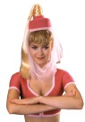 I Dream of Jeannie Hat W/ Hair - Add this to your belly dance costume for an authentic look. I Dream of Jeannie pink hat with attached sheer veil, and attached blond ponytail with braided accent. One size fits most Adults and Children. (This product is NOT intended for children 3 years o