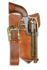 Realistic size metal toy revolver with vinyl leather look holster and belt.  Uses 12 shot ring cap not included.