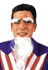 Uncle Sam Goatee/Eyebrows - Small, pointed white goatee with matching eyebrows. Just like Uncle Sam!