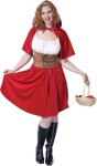 Red Riding Hood Adult Costume (Plus Size) - Look out big bad wolf, here comes sexy Red Riding Hood! Includes: White blouse, brown faux leather vest, Red Skirt and hooded capelet. Made of polyester, cotton, and polyvinyl.