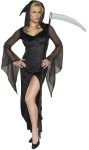 Sexy Grim Reaper Adult Costume - Best looking Death Dealer Ive seen!  Sexy hooded dress with slit front and sheer draped sleeves. Made of polyester, acetate, nylon.