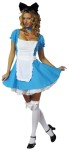 Sexy Alice Adult Costume - Two tone dress with attached petticoat, choker and headband with bow.