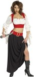 Renaissance Pirate Adult Costume - This is one Sexy Wench.  Includes:  Two-tone crop top with draped sleeves, full length skirt with contrasting mock belt. Boots and dagger not included.