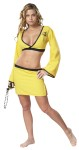 Naughty Ninja Adult Costume - Costume includes: criss-cross low cut top with full sleves with black trim and matching double slit mini skirt.