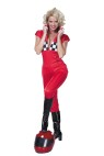 Red Racer Adult Costume - Includes: Short sleeve zipper front jumpsuit.   SIZES,  Large:16-18;  Medium:12-14;  Small:8-10.